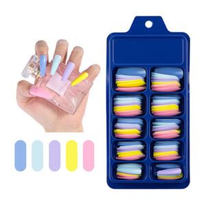 Nail Art Blue Box Full Типсы Длинные Балерина Накладные ногти Сплошной цвет Маникюр Красочный Coffin Поддельный ногтей