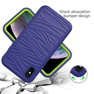 NEW For iPhone XR Wave Pattern 3 in 1 Silicone+PC Shockproof Protective Case