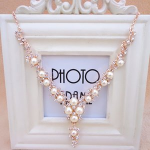 Fashion pearl gem necklace women short clavicle chain ornaments accessories sweater chain fake collar Europe and America
