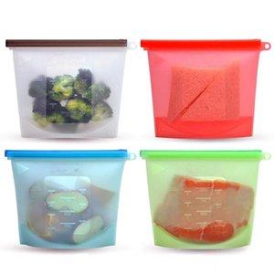 Bolsas LMETJMA reutilizáveis armazenamento de silicone BPA Preservação grátis Bolsas Seal freeze armazenamento Savers KC0255