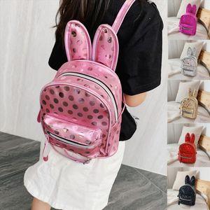 Backpack Kid Children Cute Rabbit mini small Female Children Backpack Casual Bag Cartoon Rabbit Ear Bag Wave Point Package