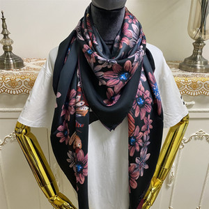 New style women's square scarf scarves good quality 100% twill silk material pint Letters butterfly flowers pattern size 130cm - 130cm
