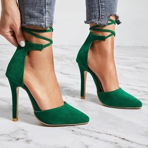 2021 new women high heels fashion casual thin heel pointed toe women shoes lace up wedding party plus size ladies pumps