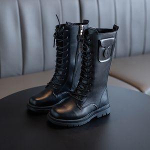 Девушки 2020 осень новый высокий черный моды сапоги детские все соответствует сплошной цвет длинный рыцарские сапоги Y1111