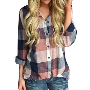 Colorful Plaids Turndown-collor Shirts Women Autumn Plaid Blouses Long Sleeve Blouse Casual Work Shirt Office Tops
