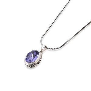 925 Sterling Silver Amethyst Pendant Necklace Pear Shape Gemstone Birthstone For Women