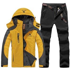 Los pantalones de la chaqueta Senderismo excursiones de invierno al aire libre de los hombres de la capa a prueba de viento impermeable de esquí desgaste del juego de escalada forro polar gruesa térmica