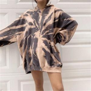 Las mujeres Tie-dye sudaderas tendencia de la manera más el tamaño de manga larga con capucha suéter de diseño de bolsillo Mujer Otoño Nueva floja ocasional sudaderas