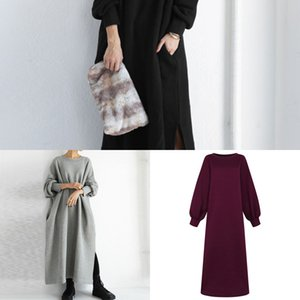 Sweatshirt Autumn Dress ZANZEA Winter Sundress Long Sleeve Split Hem Casual Loose Long Vestidos Solid Baggy Fleece Pullover 5XL C0121