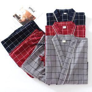 Plus Size XL Japanese pajamas Sets mens Plaid pijamas male 100% cotton Spa Robe sets for male boxer kimono robes men hombre 201109
