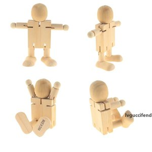 Wooden Doll People Unfinished Wood Robot Block Toys Action Figures Model Toy for Kids Painting Arts and Crafts Birthday Christmas Gift