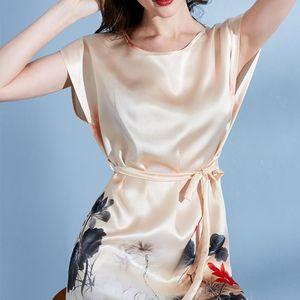 Ladies 100% Real Silk Robe Nightgown for Women Luxury Hangzhou Silk Bedgown 2020 Sleepwear Natural Nightdress Robes Large S