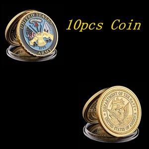 10шт 1775 US Department Of Navy Army Позолоченные Цвет новизна Памятной Military Вызов Коллекции монет и подарков