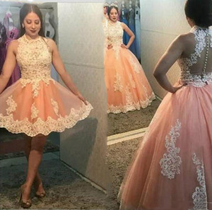 Two Piece Peach Prom Dresses Vestido Sweet 16 Quinceanera Dress Ball Gown Short Sleeveless Lace Applique Tulle Buttons Plus Size Party Dress