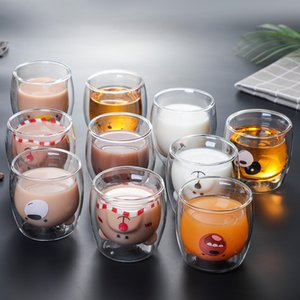 Tasse en verre à double mur dessin animé ours chat animal motif café tasse de café Saint-Valentin cadeau de la Saint-Valentin Coupe de lait mignon Coupe de lait DHD4576