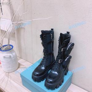 PRADA belles bottes Martin femmes d'hiver de haute qualité en plein air chaussures modernes de moto noir tendance moderne de haute qualité beau de la mode casual