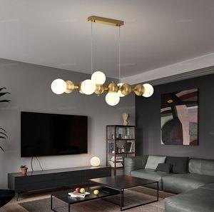 Illuminazione Lampadari Ristorante Brass post-moderni di lusso Striscia di vetro semplice Bar Sala da pranzo tavolo da pranzo Sospese