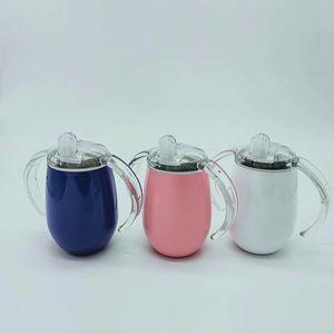 Air Shipping 14oz Sippy 컵 밀짚 컵 스테인레스 스틸 텀블러 뚜껑 젖꼭지와 이중 핸들이있는 유출 없음