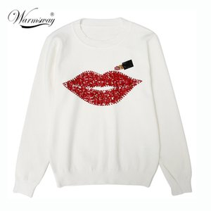 Harajuku Women Sweater Autumn Winter Brand Designer Hand Made Diamonds Red Lips Sequined Tops Female Lipstick Knit C-021 201006