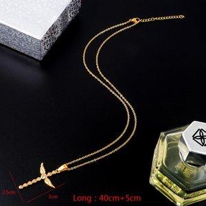 Fysara Religion Crystal Zircon Cross Choker Necklace Women Wedding Pendant Chain Necklace Titanium Steel Christian Jewelry Gift jllMSl