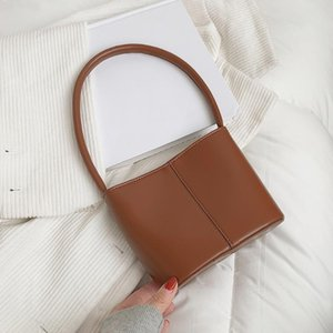 Fashion Solid Color Top-handle Bucket Bags Women PU Leather Shoulder Tote Portable Commuter Handbag
