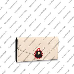 M69514 M69698 Crafty Sarah Envelope 지갑 캔버스 진짜 소 가죽 여성 남성 현금 카드 동전 지퍼 지갑 지갑 가방