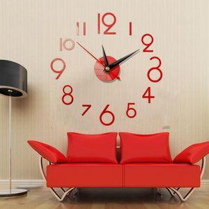 3D Wall Clock Modern Design Acrylic Large Wall Sticker DIY Wall Watch Home Decor Clock On the Aesthetic Room Decor