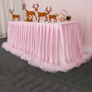 Шифон органза свадебный столик юбка для настольной ткани вечеринка свадьба по случаю дня рождения вечеринка детское душ банкетный украшение столовая планка 201007