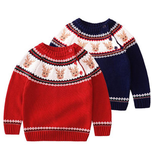 Baby Boys Girls Sweaters Kids Christmas Pullover Thick Warm Knitted Wear Children Clothing Cotton Long Sleeve Sweaters Coat Tops bbyOyg