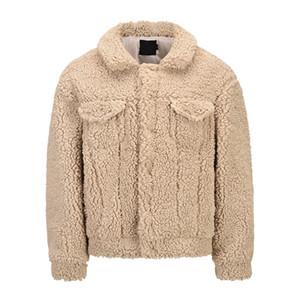 Sherpa Jacket Men Front Pockets High Street Men's Jacket 2020 Winter Streetwear Clothing