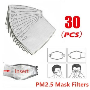 30pcs Filtro PM2,5 M / demanda contra polvillo Activado tela de la impresión de la cubierta de la cara del cojín de carbono contra la contaminación transpirable maskes