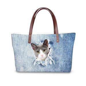 3D Bleu Denim Cat Imprimer Sacs à main de luxe Femmes Sacs Designer Big Cross-corps sac pour dames Haut-manche Bolsa Feminina