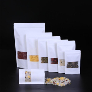 White Kraft Paper Mylar Self-Styled Doypack Bags With Clear Window Food Tea Snack Package Storage Bag Stand Up Packaging Ziplock