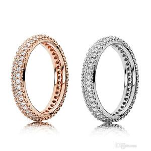 100% 925 anillos de plata esterlina con caja original de circón cúbico para el anillo de moda Pandora para el anillo de bodas de oro del día de San Valentín