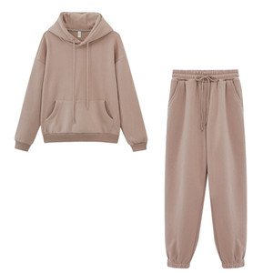 Autumn Winter Fleece Hoodies Two Piece Set Womens Tracksuits Jogger Pants Thick Warm Clothes Womens Solid Color Jacket Suit 201007