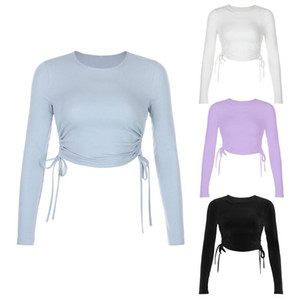 Womens Autumn Long Sleeve O-Neck T-Shirt Ruched Side Drawstring Bandage Crop Top Solid Color Bodycon Slim Fitted Pullover Tee St