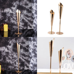 Stainless Steel Candlestick Gold Color Wedding Centerpieces Candle Holder Creat Large Small Size Ornament Candlesticks New Arrival 26hx2 L1