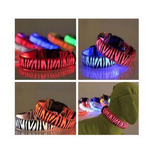 Eco Friendly Pattern Nylon Pet Led Dog Collar Night Safety Led Flashing Glow Led Pet Supplies Dog Ca jllDBu lajiaoyard