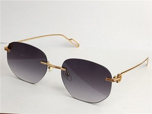 Satış toptan güneş gözlüğü ultralight düzensiz çerçevesiz retro avant-garde tasarım UV400 açık renkli lensler dekoratif gözlük 0112