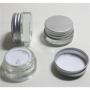 5Gcs 5G Crème de verre en verre clair avec couvercle en aluminium argenté, 5 grammes cosmétiques, emballage pour échantillons / crème oculaire, bouteille de verre de 5g mini XXD8T