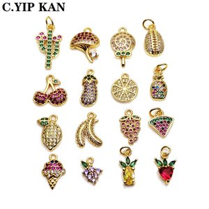 Popular wholesale small pendant Fruit candy charms glossy copper gold-plated pendant DIY bracelet necklace anklet accessories
