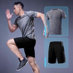 Suit Spor Giyimi Running Tshirt Şort Jersey Seti Koşu Hızlı Kuru Spor T Shirt Running Salonu Giyim Seti Erkekler Yaz