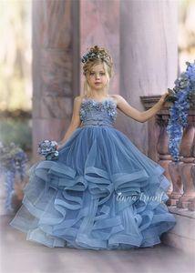 Flower Blue Haze ragazza abiti da sposa in pizzo per 3D floreale appliquéd Little Girls Pageant Dress Tiered Gonne vestidos de desfile