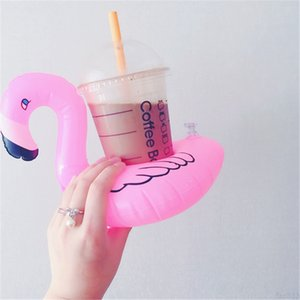 INS PVC Inflatable Flamingo Drinks Holder Pool cartoon Floats Floating Drink Cup stand ring Bar Coasters Children bath toy swimming
