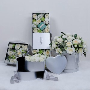 Coeur en forme double couche rotation fleur chocolat cadeau boîte cadeau bricolage de mariage décor de la fête de la Saint-Valentin day emballage fleur cas dhl
