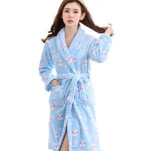 Free Shipping Ladies Women Long Design Flannel Bathrobe Female Robe Nightgown Coral Fleece Sleepwear