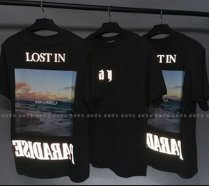 ASK California Wave Print High Street made old photo short sleeve 3M Landscape reflective loose-fitting men's T-shirt for couples
