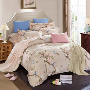 100%Cotton soft bedclothes Floral leaf print oriental style bedding sets queen king size 4Pcs boho duvet cover bed sheet set