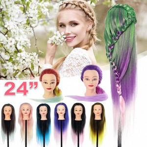 24inch Длинные светлые волосы Парикмахерское головка манекена Плетение Smooth парик для причесок Synthetic манекена Head с настольным зажимом 84qo #