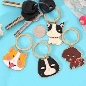 Yisheng Animal Head Keychain Coréen mignon cartoon voiture suspendue porte-clés de porte-clés en métal